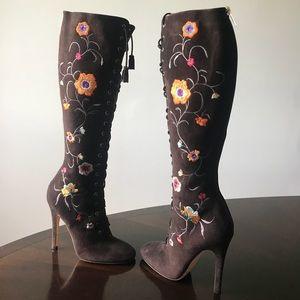 Jimmy Choo Flowery Motif Suede 6M Knee hi Boots